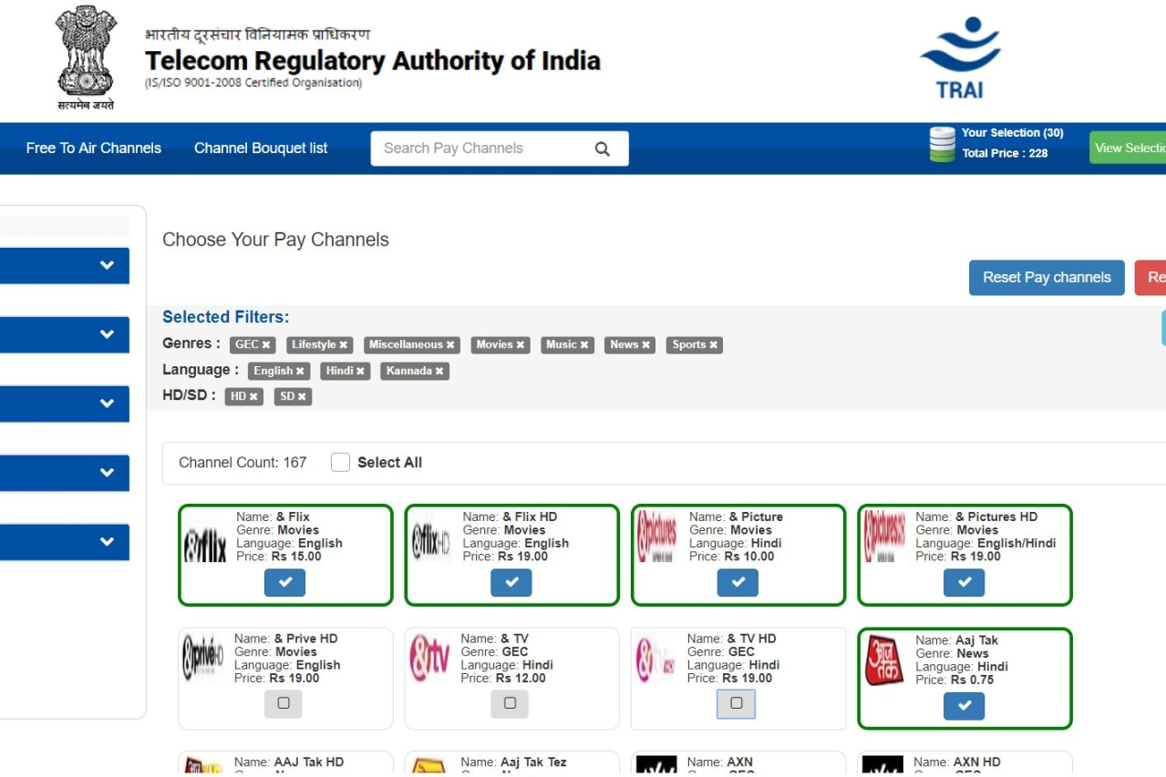20cd856d47a TRAI Launches Channel Selector Application  DTH And Cable Users Can See  Individual Prices