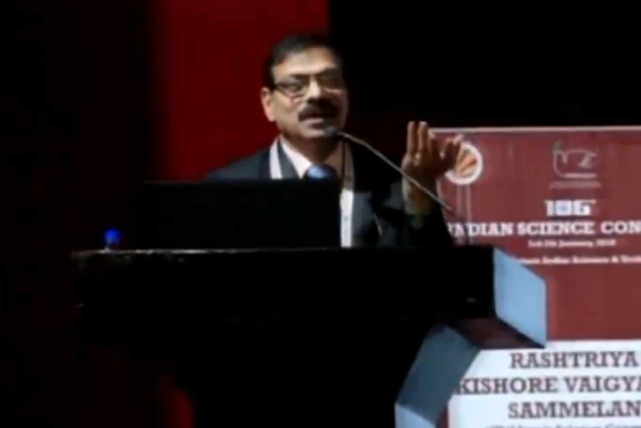 G N Rao, Vice Chancellor at Andhra University, speaking at the Indian Science Congress. (screengrab)