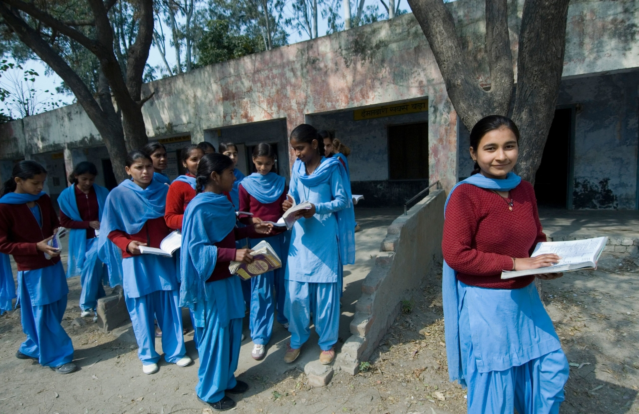 Government school students in Bazida Zattan Village of Karnal. (Priyanka Parashar/Mint via GettyImages)