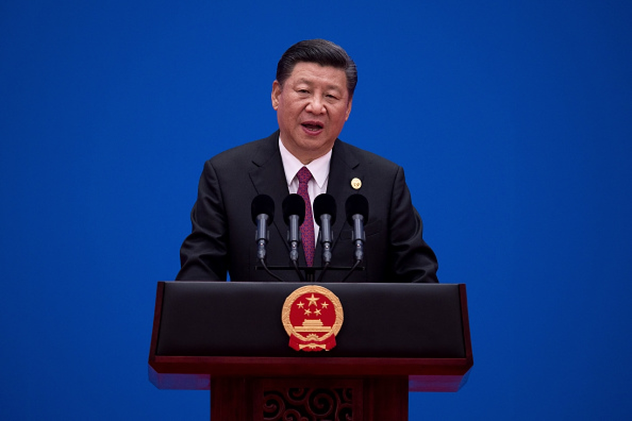 Xi Jinping speaking at a Belt and Road Initiative conference in Beijing. (Photo by Nicolas Asfouri-Pool/Getty Images)