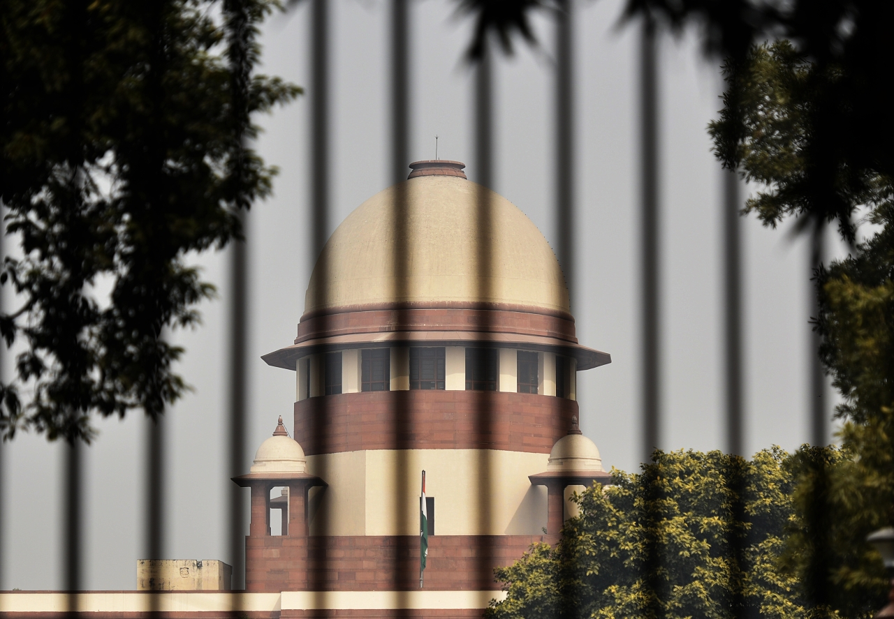 A view of the Supreme Court after a hearing on Babri Masjid-Ram Janmabhoomi case, on 4 January  2019. (Biplov Bhuyan/Hindustan Times via Getty Images)