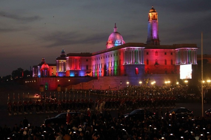 In Pictures: Rashtrapati Bhavan Lights Up, Military Tunes Echo Across Rajpath For Beating Retreat Ceremony