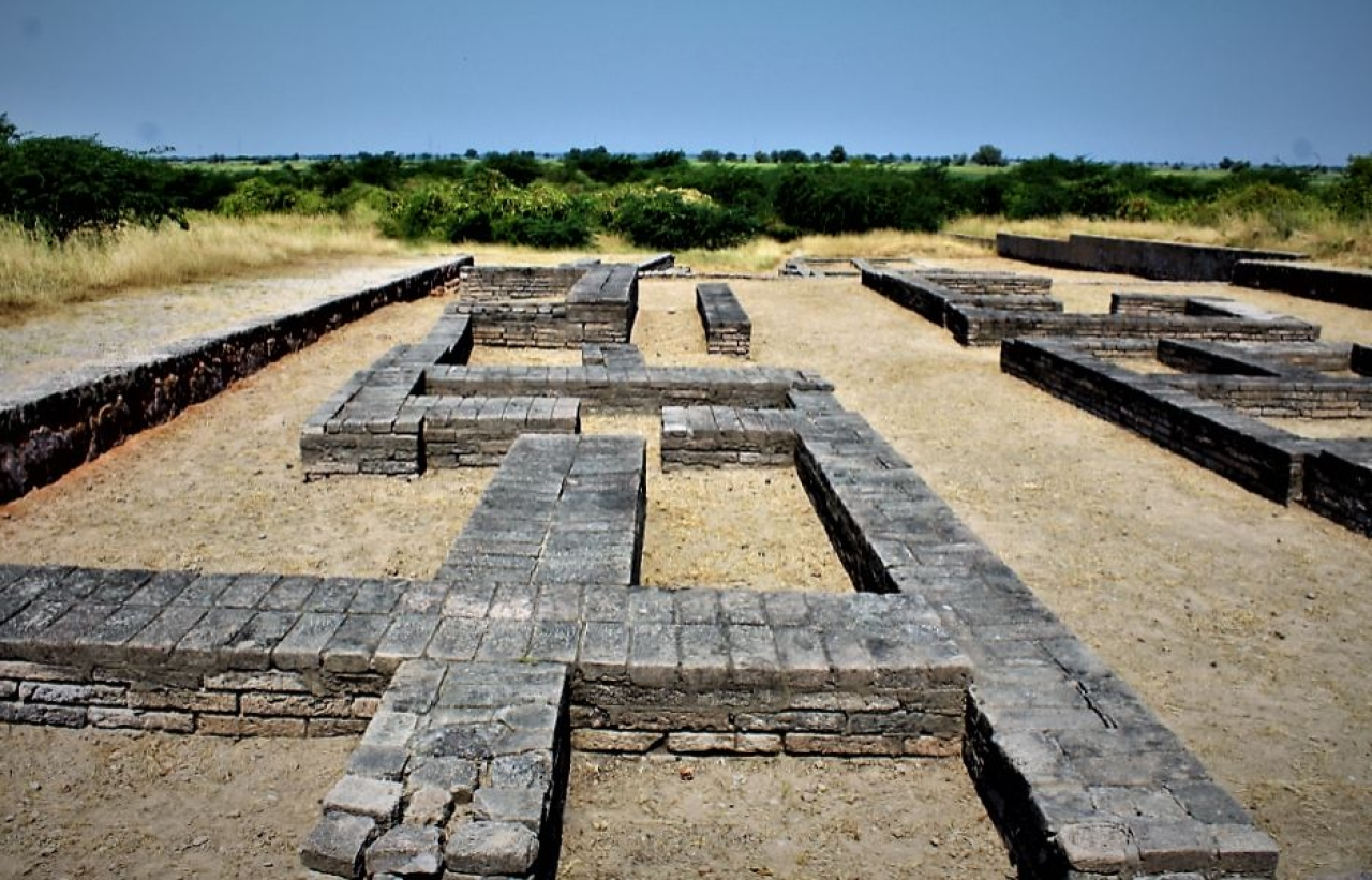 Lothal : The well planned township with two broad hierarchical  resident areas is hall mark of Harappan civilisation