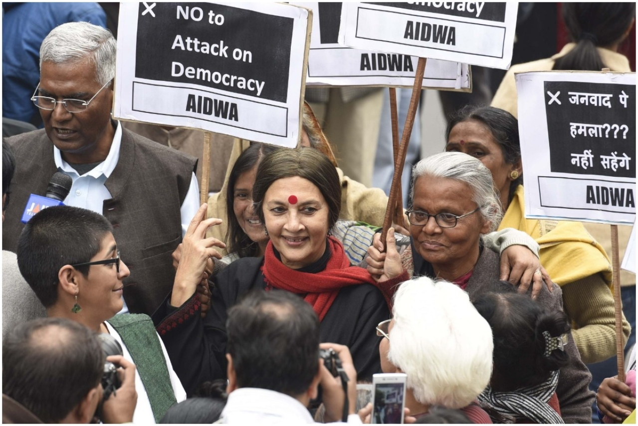 Representative image: CPI leader Brinda Karat, D. Raja, JNU students, professors and CPI party members protest at JNU Campus in 2016 (Photo by Sanjeev Verma/Hindustan Times via Getty Images)