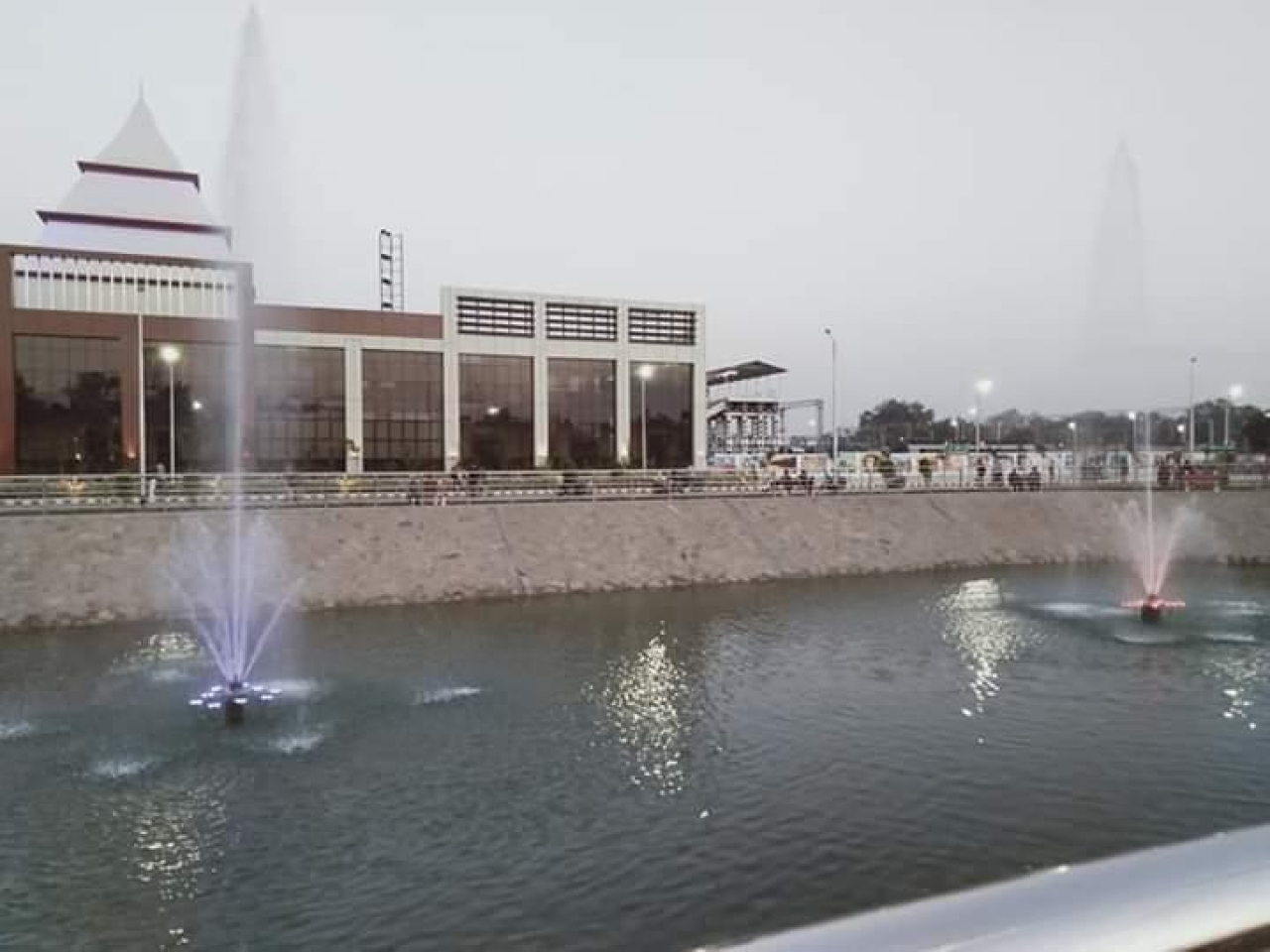 Fountain outside the station