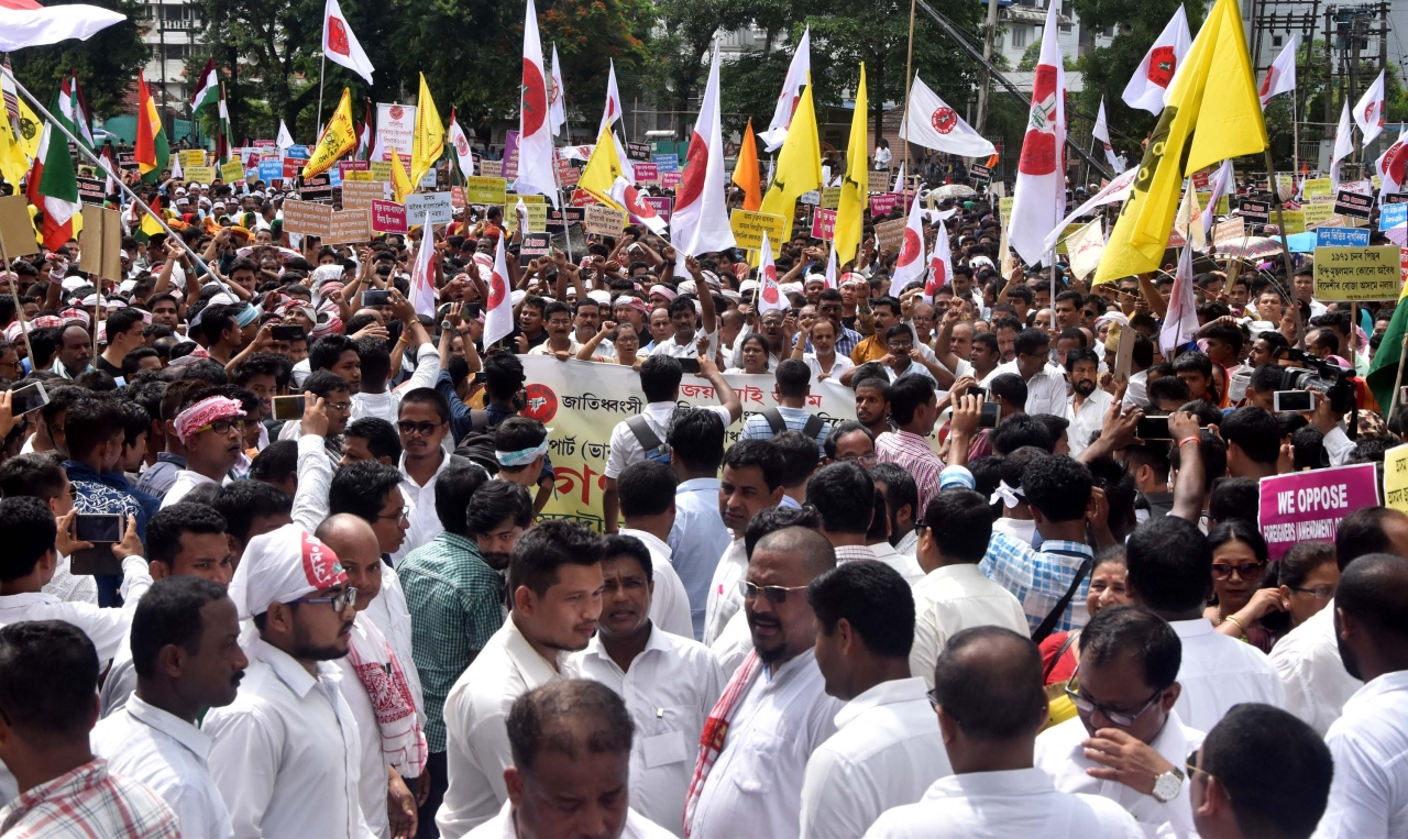 The activists of All Assam Students Union (AASU) along with 28 ethnic organisations take part in a procession in protest against the Citizenship (Amendment) Bill 2016 in Guwahati, India. (Rajib Jyoti Sarma/Hindustan Times via GettyImages)