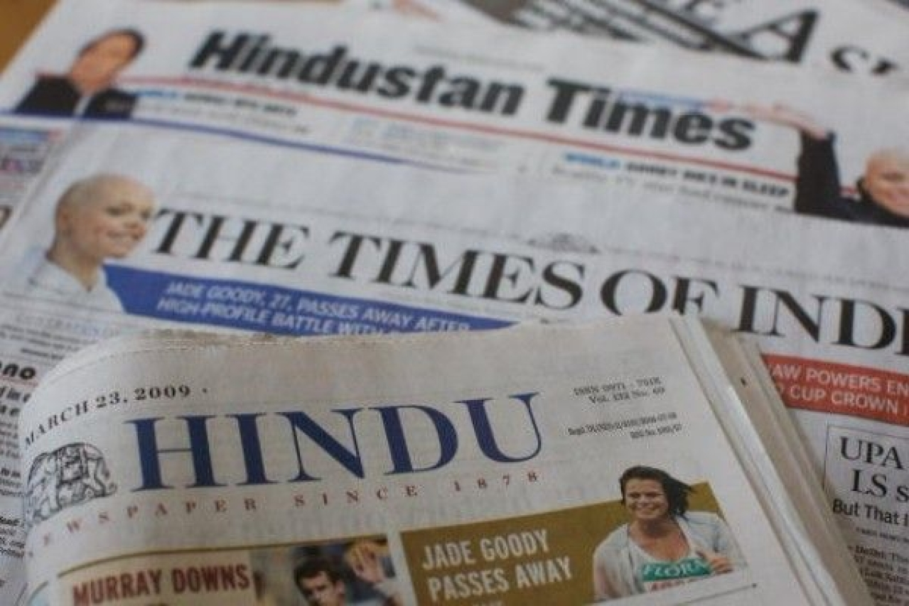 Popular Indian newspapers at a stall. (Daniel Berehulak/GettyImages)