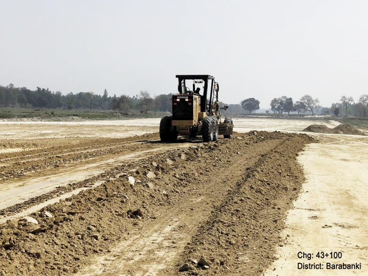 Soil being excavated and moved in Barabanki district. (UPEIDA/Twitter)