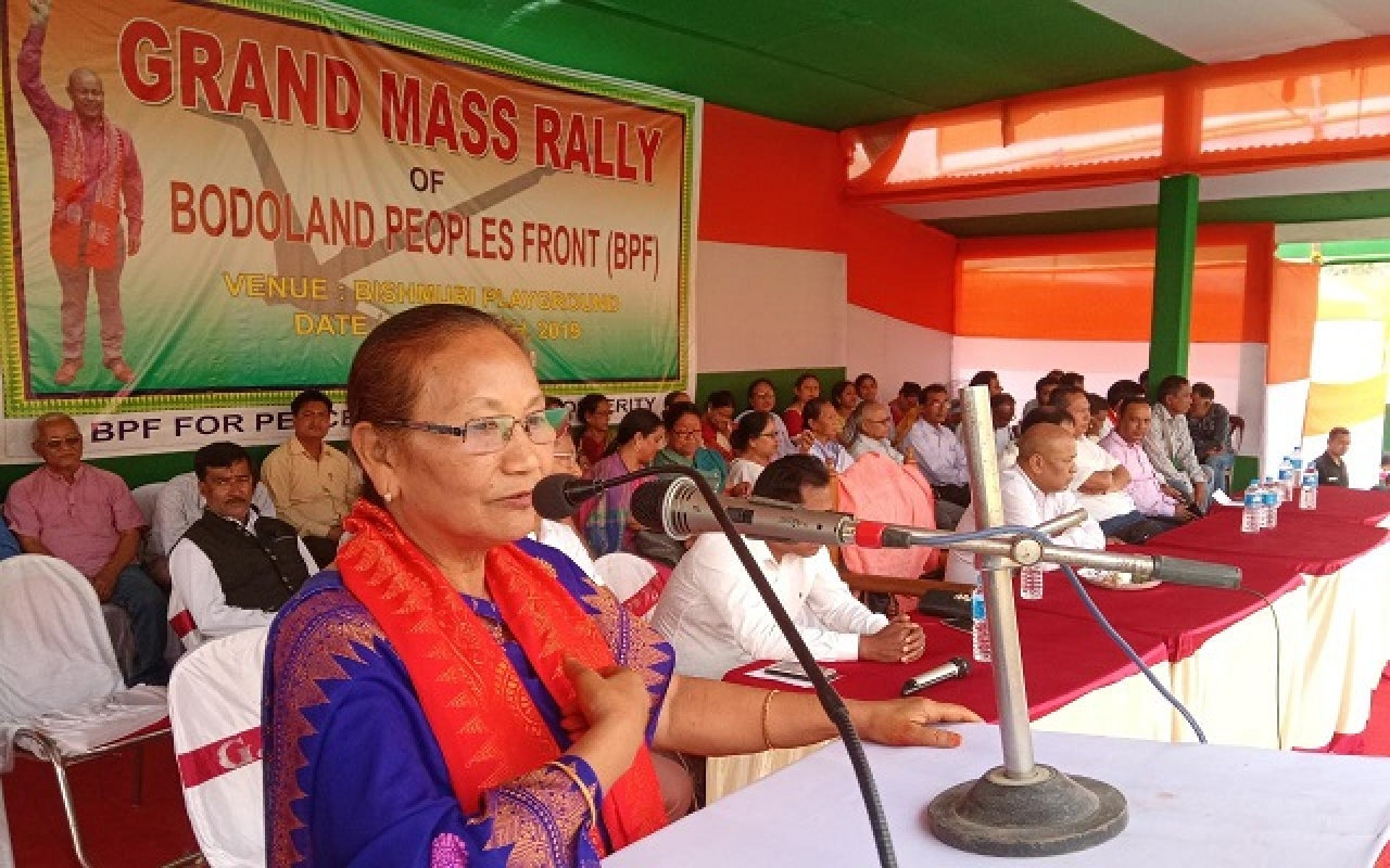 BPF's Pramila Rani Brahma making a point in a public address. (Pic: Preetam Brahma Choudhury)