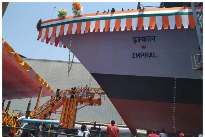 INS Imphal, Indian Navy's First Warship To Be Named After A North-Eastern City, Launched Into Water In Mumbai