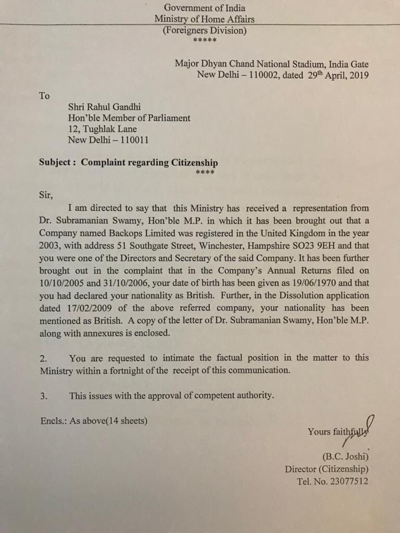 Home Ministry notice issued to Rahul Gandhi (Pic via Twitter)