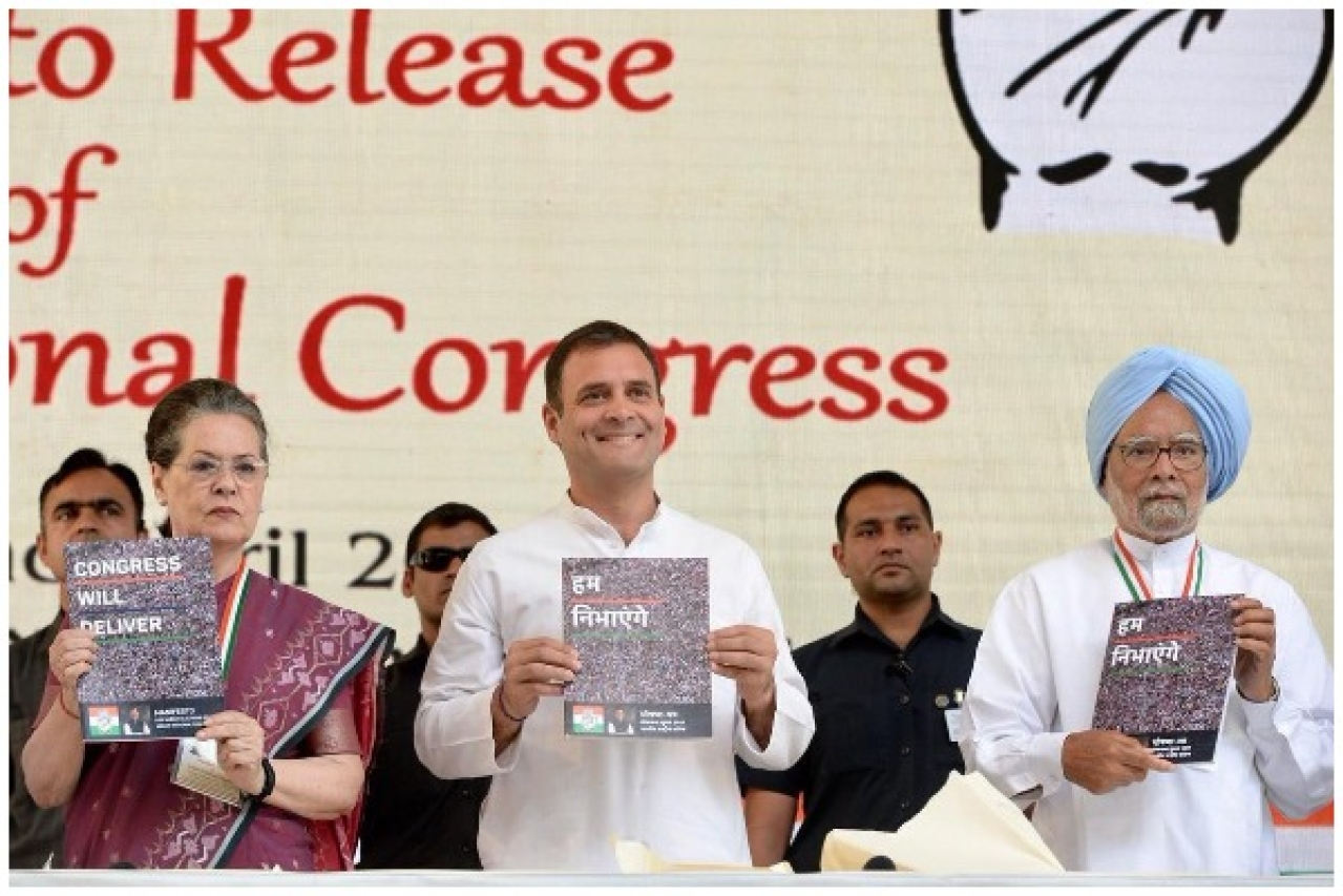 Congress leaders releasing the party's manifesto ahead of the 2019 General Election.