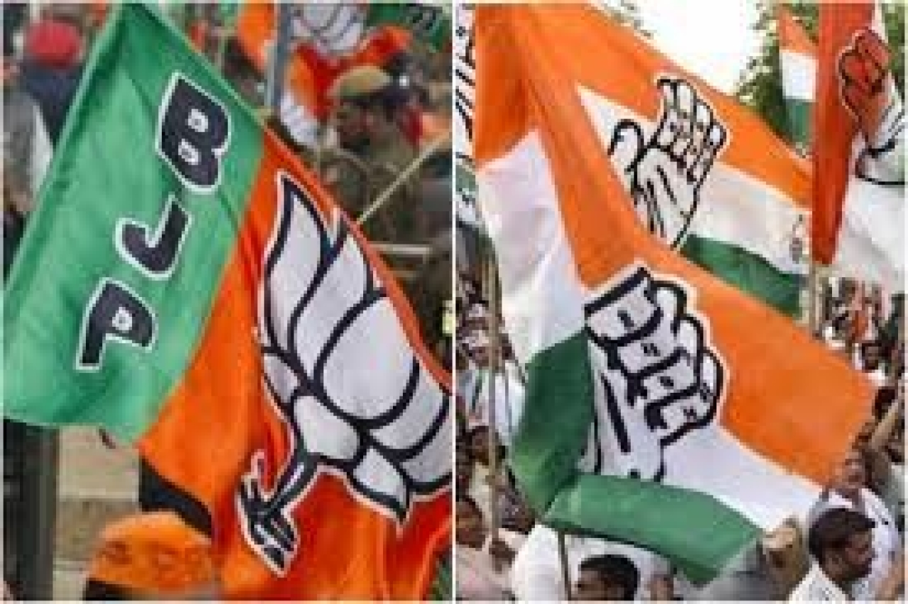 The BJP and Congress flags.