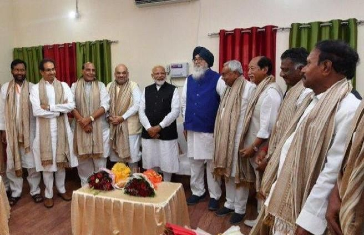 Prime Minister Narendra Modi with other NDA leaders.