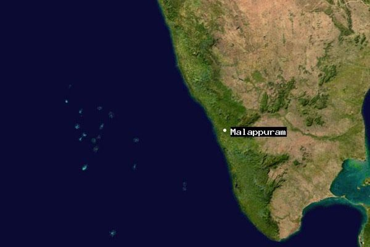 Malappuram on the Indian map (a NASA image).