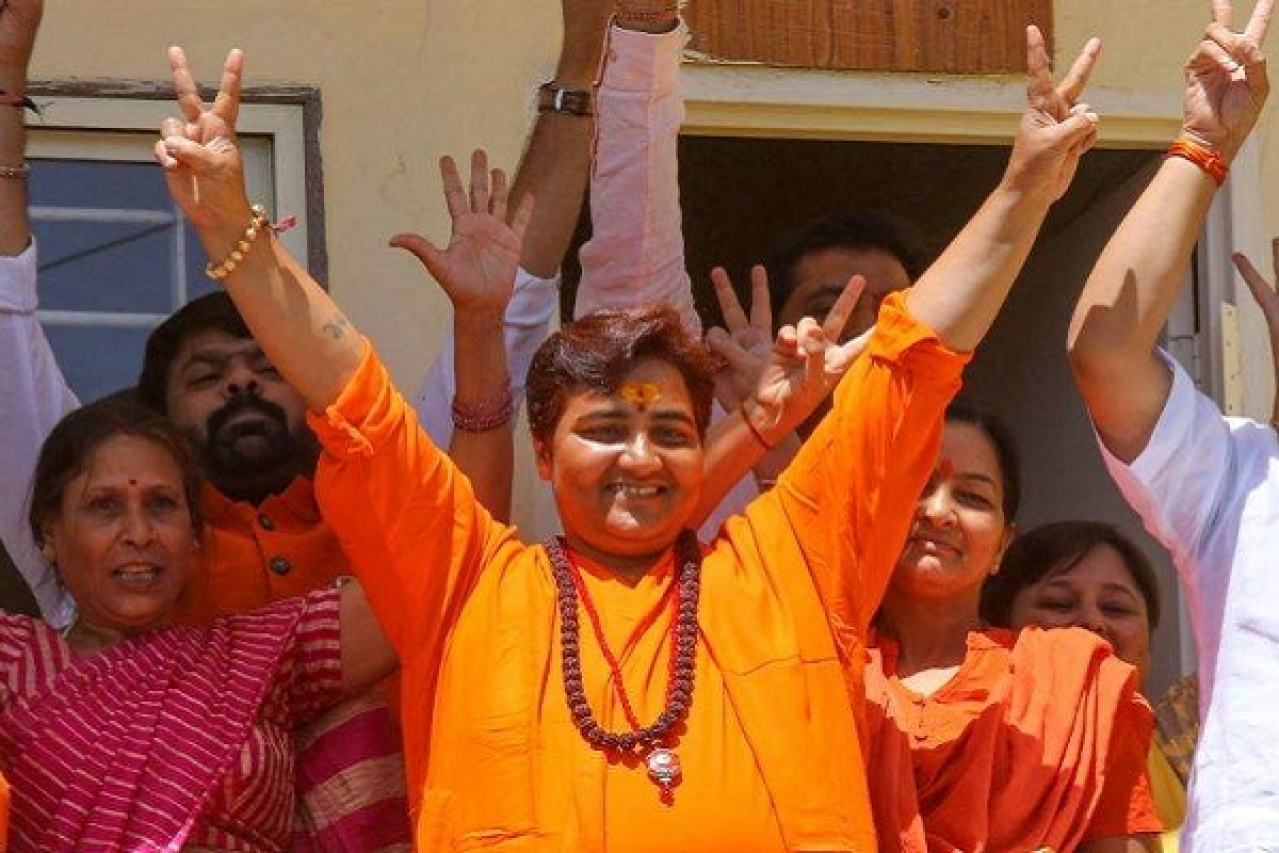 Sadhvi Pragya with her supporters.