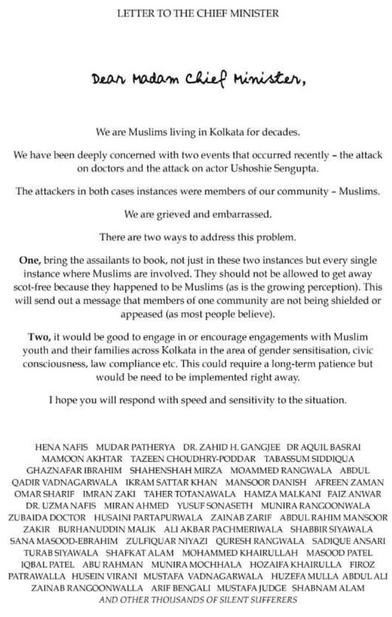 Open letter sent to Mamata by notable Muslims of Kolkata