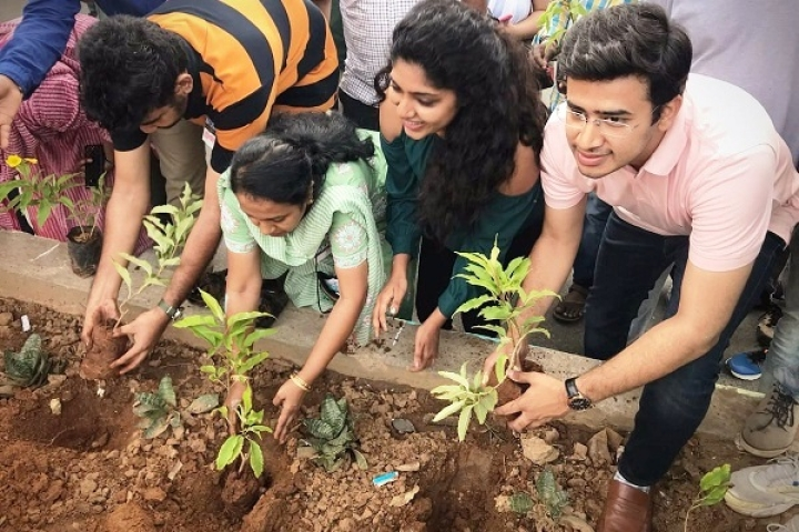 Young South Bangalore MP Tejaswi Surya Begins Beautification Drive By Planting Saplings, Painting Pavements