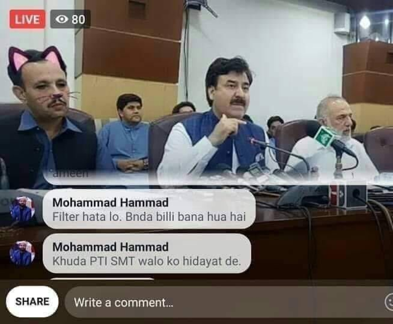 People advising the Social Media team of PTI to turn off the cat filter (Pic Via Naila Inayat)