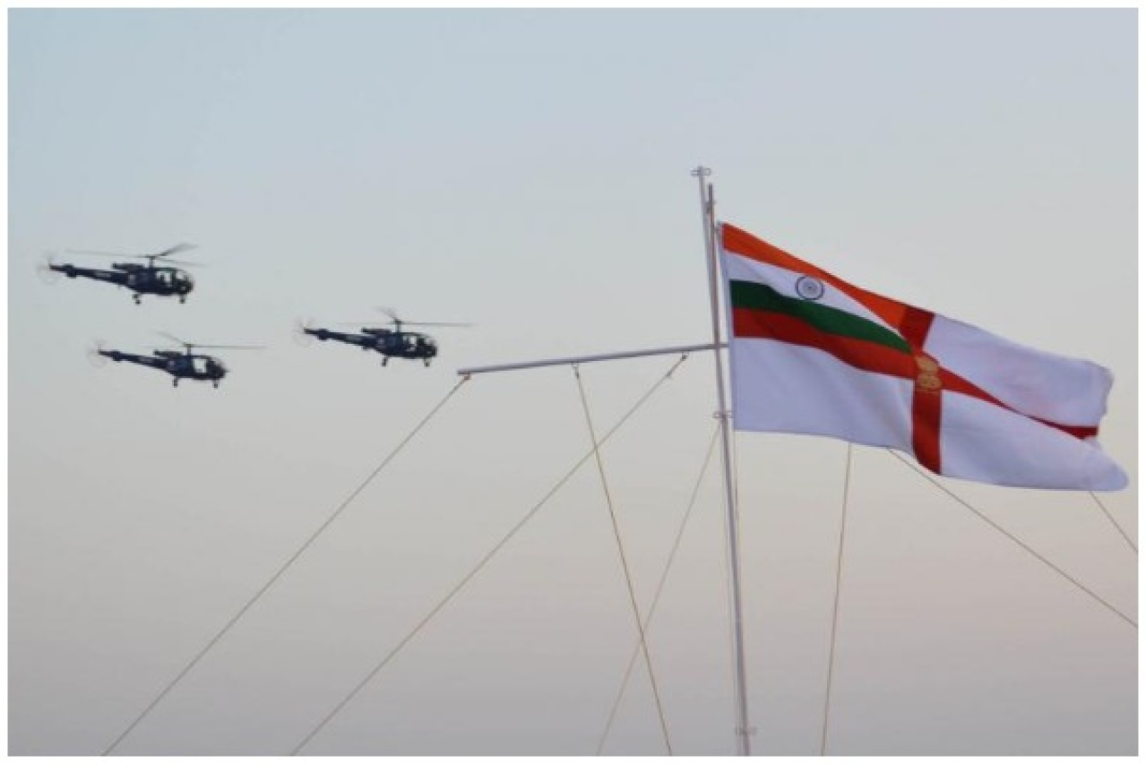 A fly past by Chetaks on Navy Day 2014. (Indian Navy)