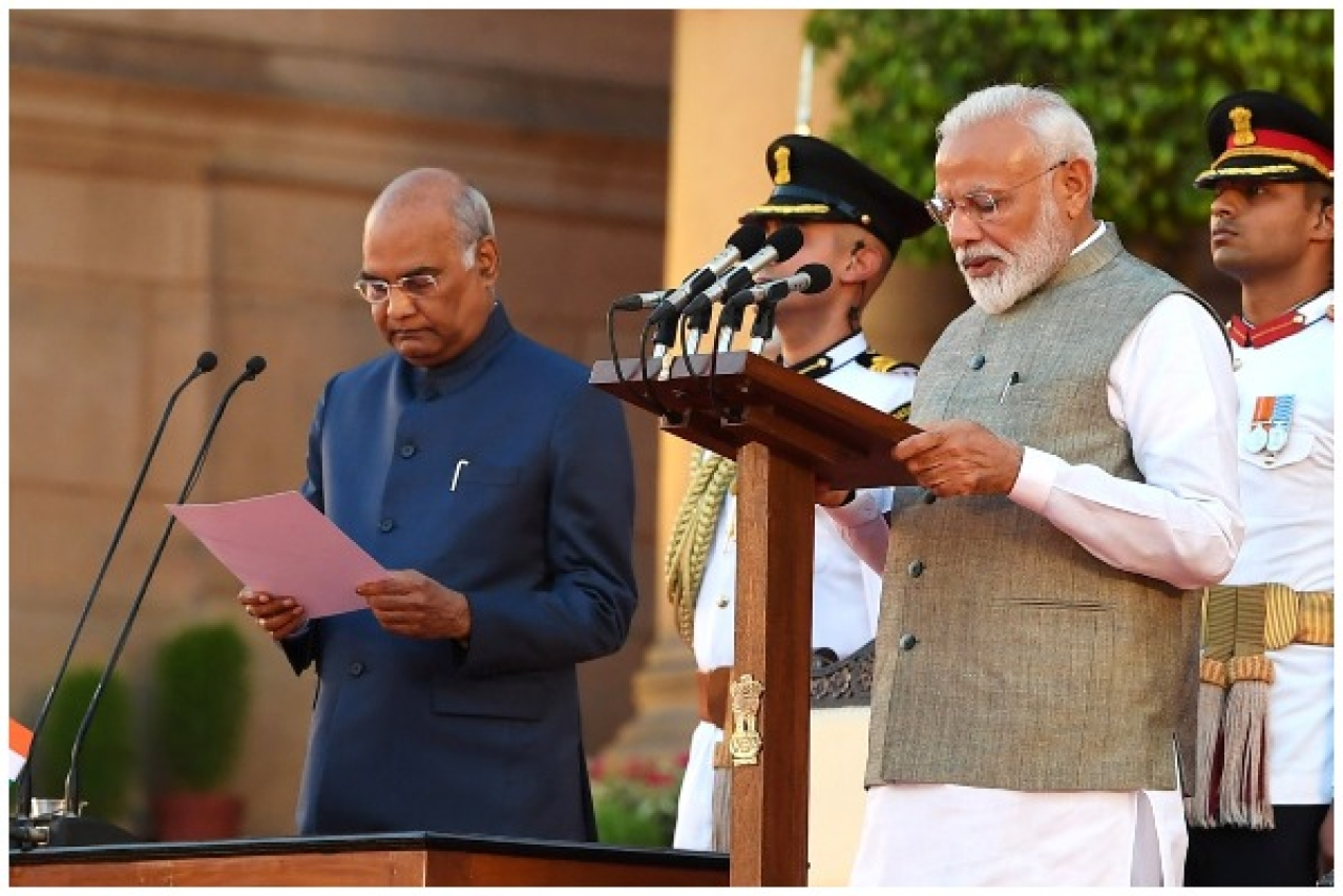 Prime Minister Narendra Modi being administered the oath to office (PMO)