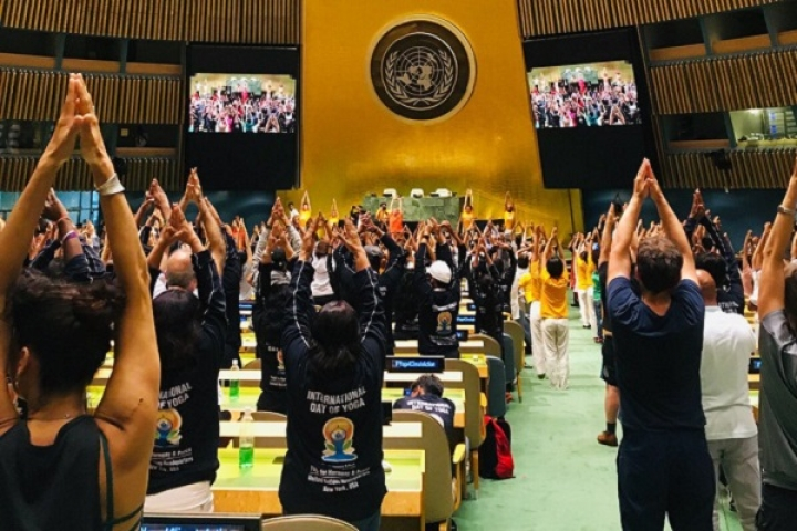In A First, OM Shanti Chants Reverberate Inside UN General Assembly Hall As India Hosts Yoga Session