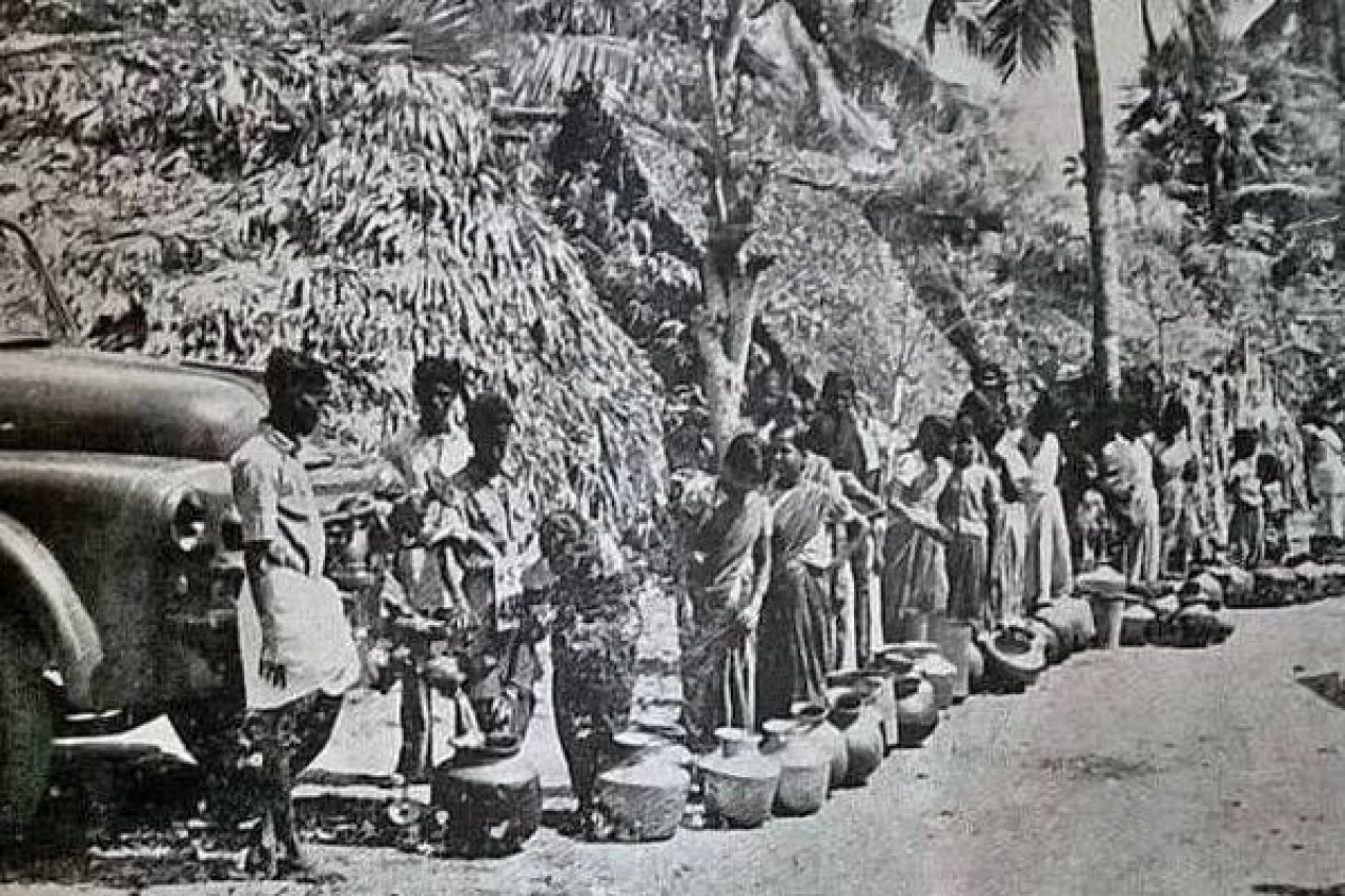 Waiting in line for drinking water supply epitomises the history of Chennai's water woes.