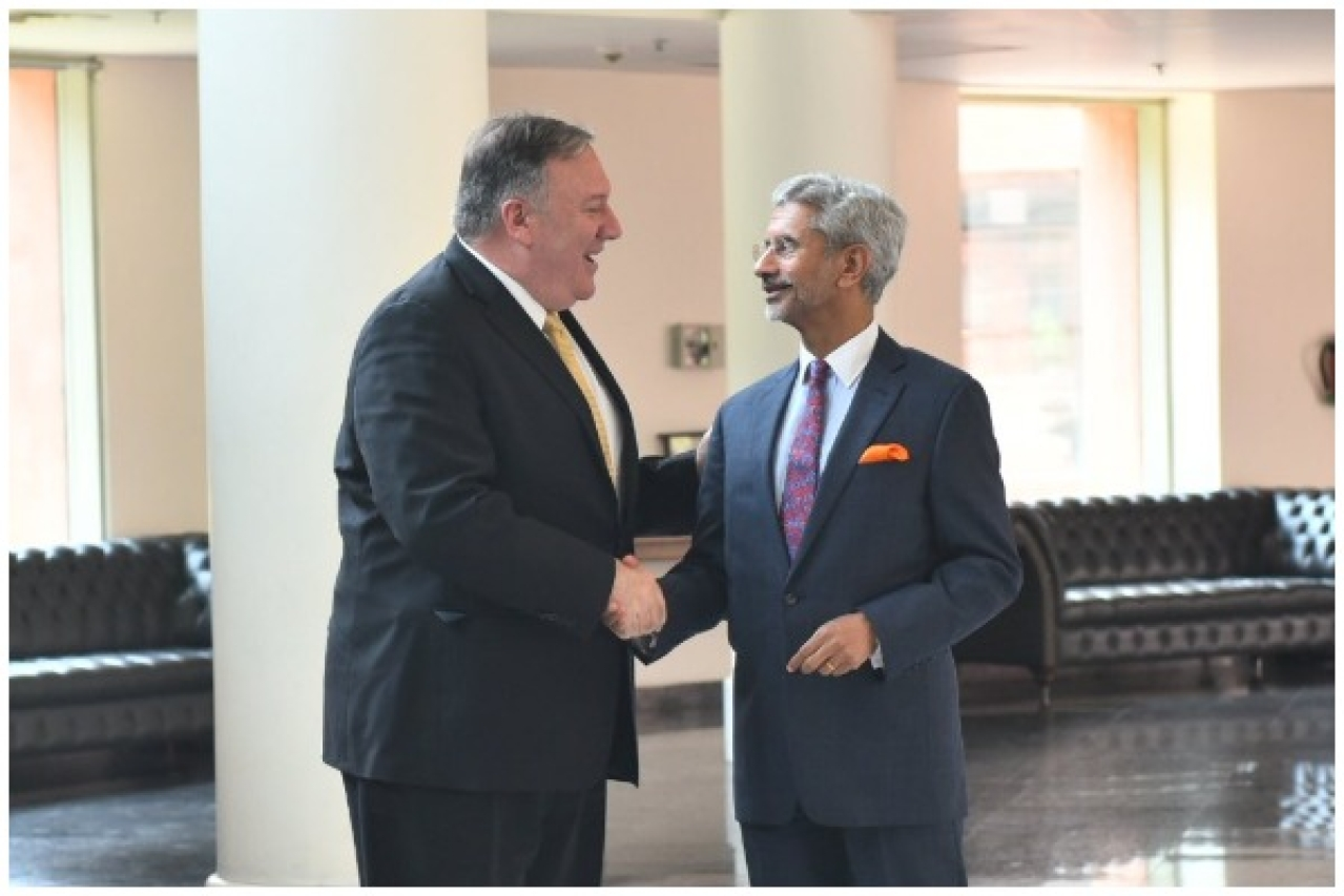 US Secretary of State Mike Pompeo and External Affairs Minister S. Jaishankar in New Delhi (Ravish Kumar/Ministry of External Affairs)
