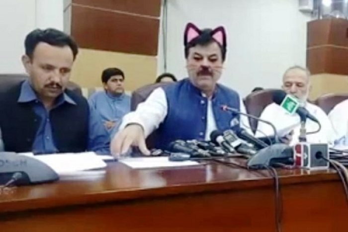 Pakistan's Khyber-Pakhtunkhwa Government Live Streams Facebook Press Conference With Cat Filter On