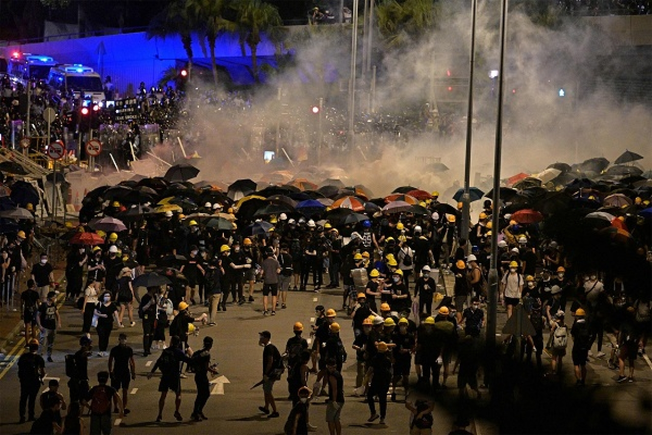 Chinese action against protesters in Hong Kong.
