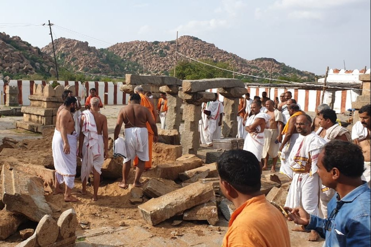 Restoration work under way at Brindavana.