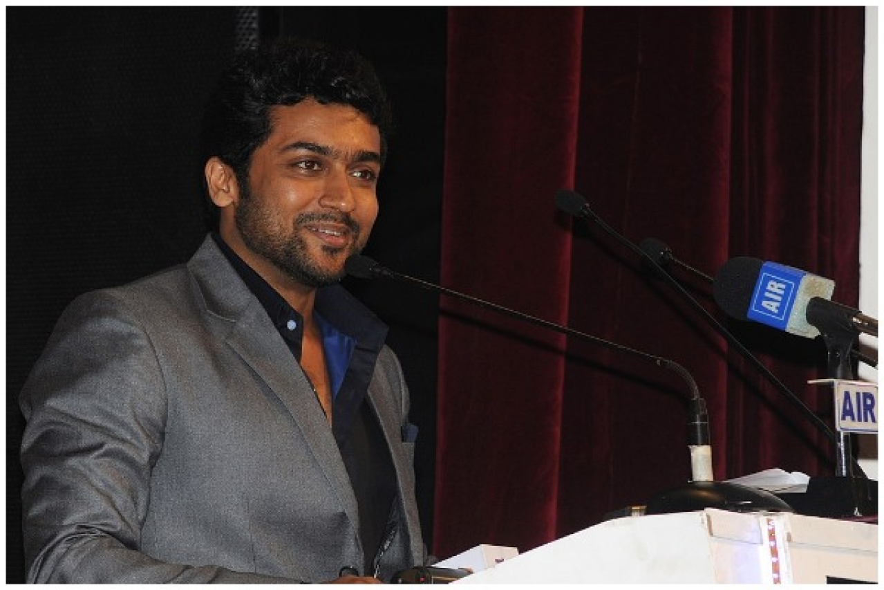 Surya addressing at the closing ceremony of the 42nd International Film Festival of India at Panaji, Goa in 2011. (Ministry of Information & Broadcasting/Wikipedia)