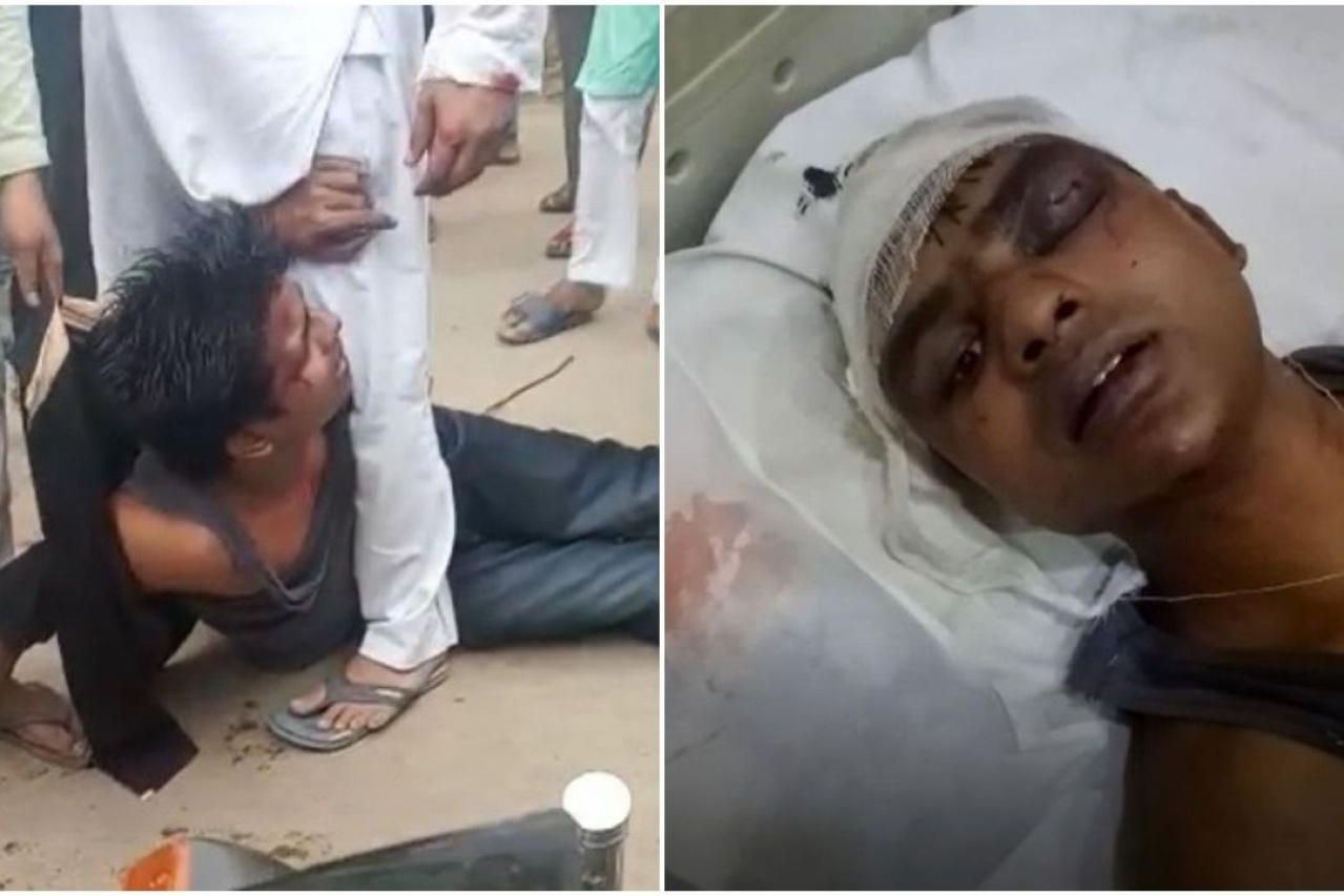 Still from videos showing Shashank being thrashed and injured