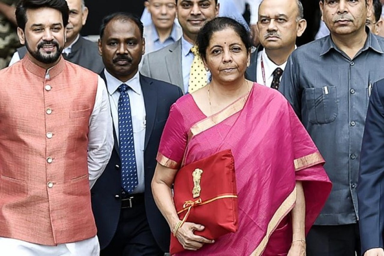 Finance Minister Nirmala Sitharaman outside the Parliament before presenting the Budget for 2019-20 (via Twitter)