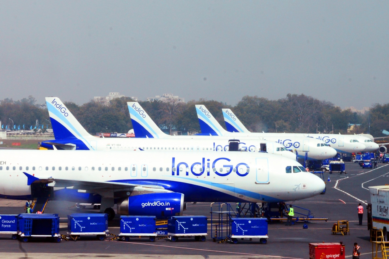 IndiGo planes at an airport. (Photo by Ramesh Pathania/Mint via GettyImages)