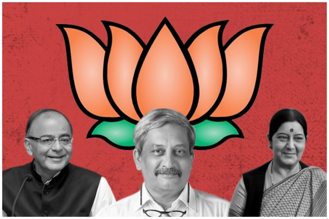 BJP leaders Arun Jaitley, Manohar Parrikar and Sushma Swaraj (left to right)
