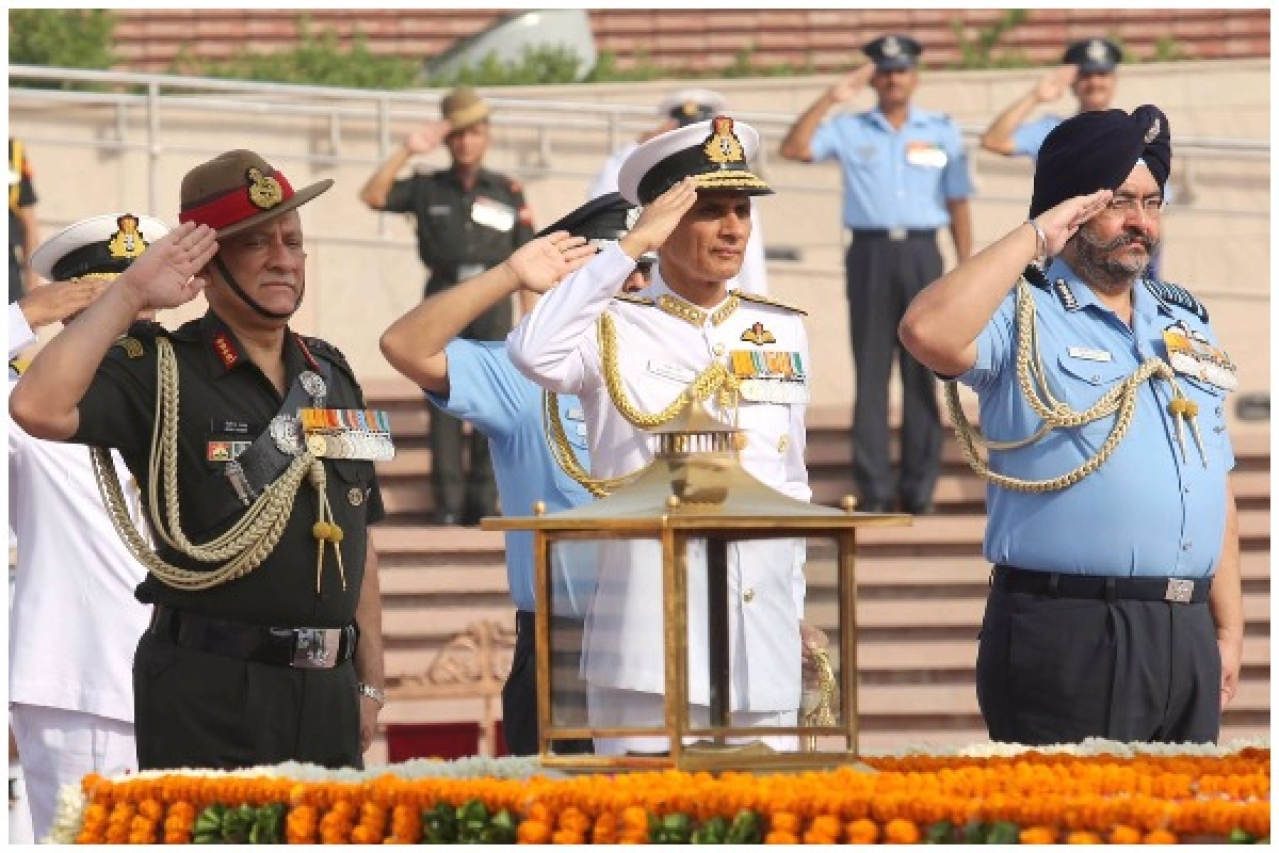 Chiefs of the Army, Navy and the Air Force. (Rajnath Singh/Twitter)