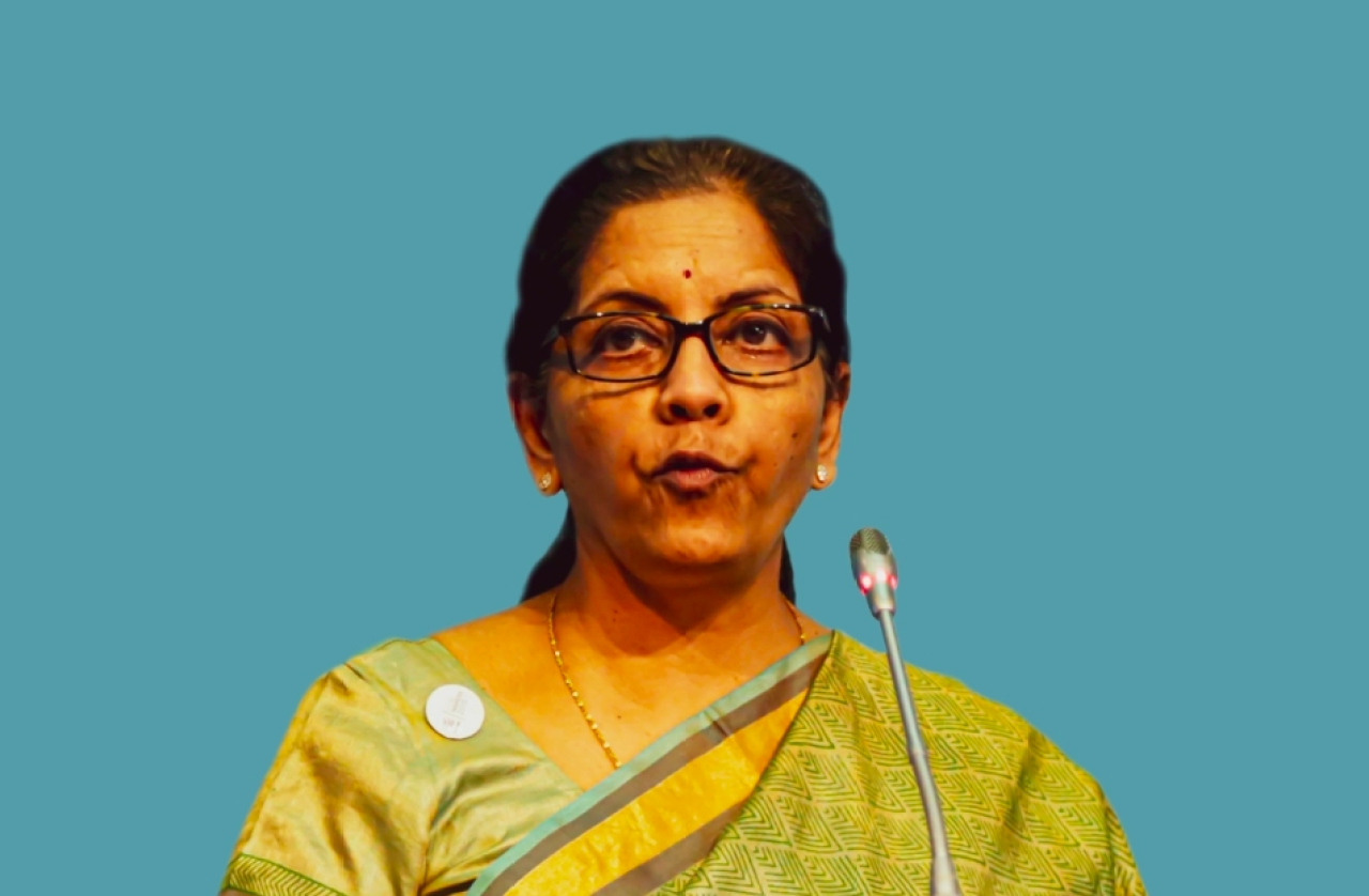 Finance Minister Nirmala Sitharaman speaking at an event.
