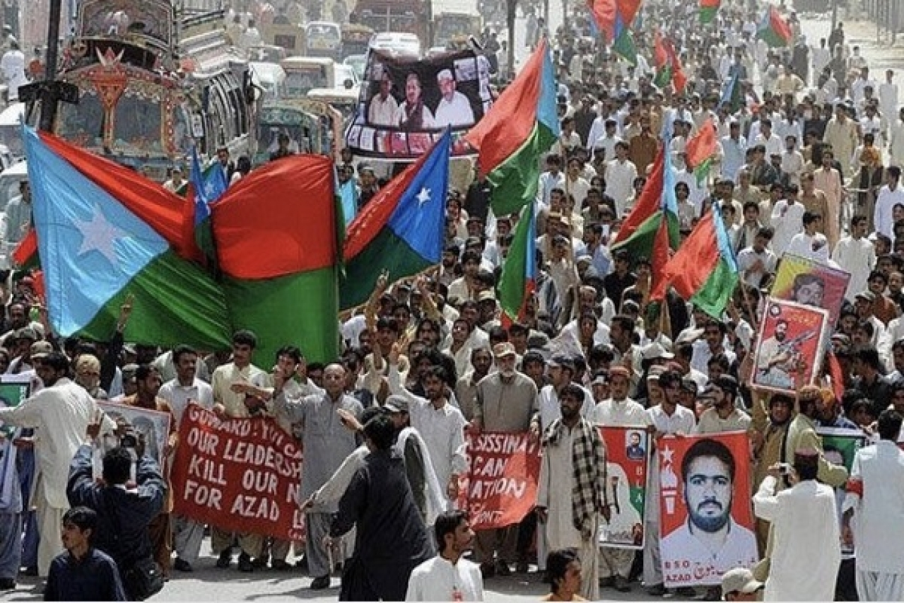 A pro-independence Baloch rally. (@Nasiralbalushi7/Twitter)