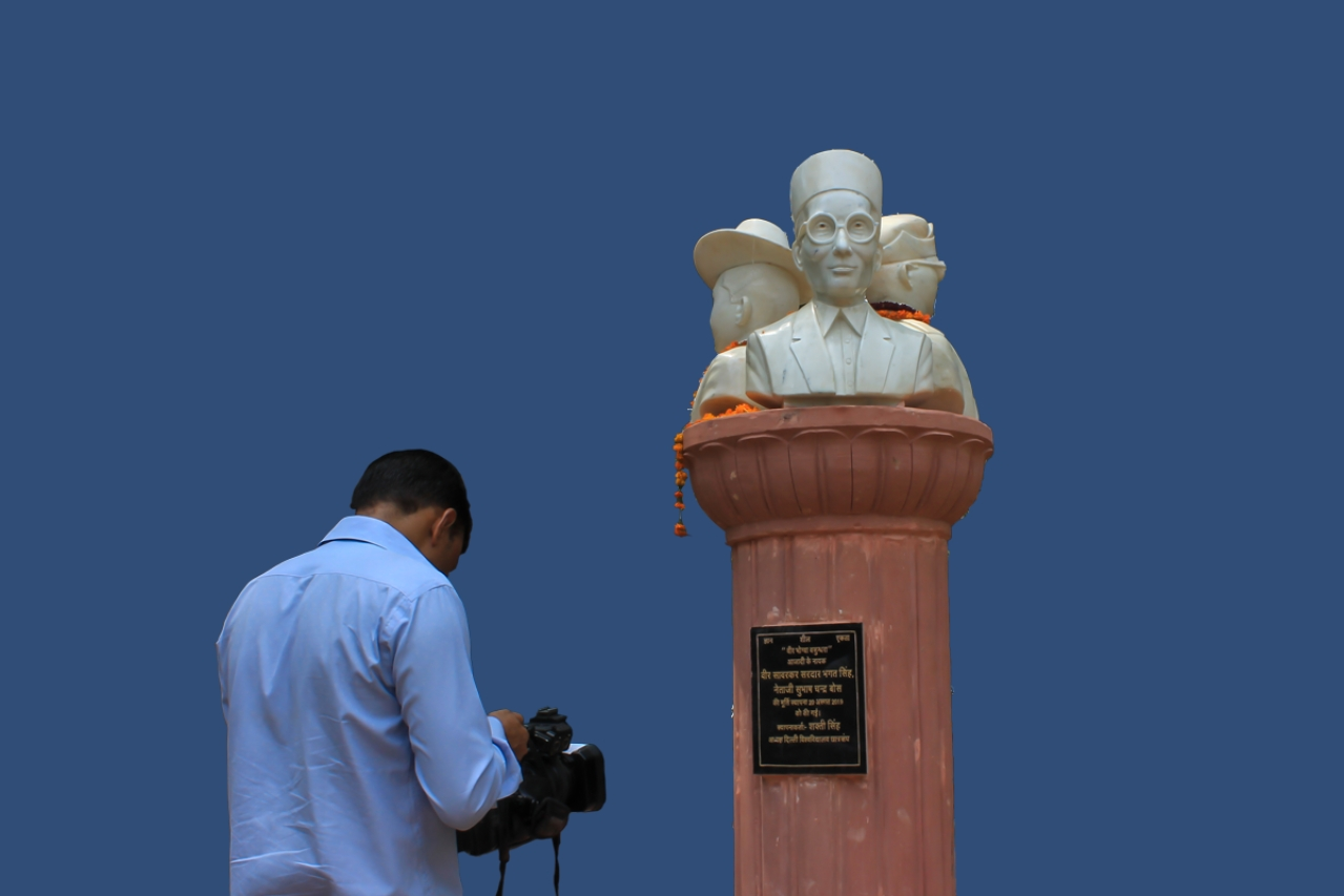 The contentious bust of Veer Savarkar along with those of Subhas Chandra Bose and Bhagat Singh.
