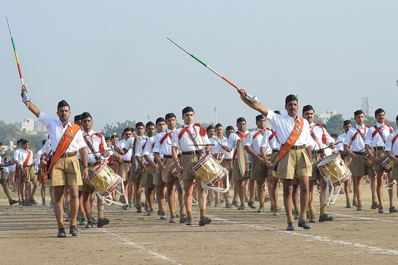 RSS cadets perform a drill during Vijaya Dashmi. (Photo credit: STR/AFP/GettyImages)