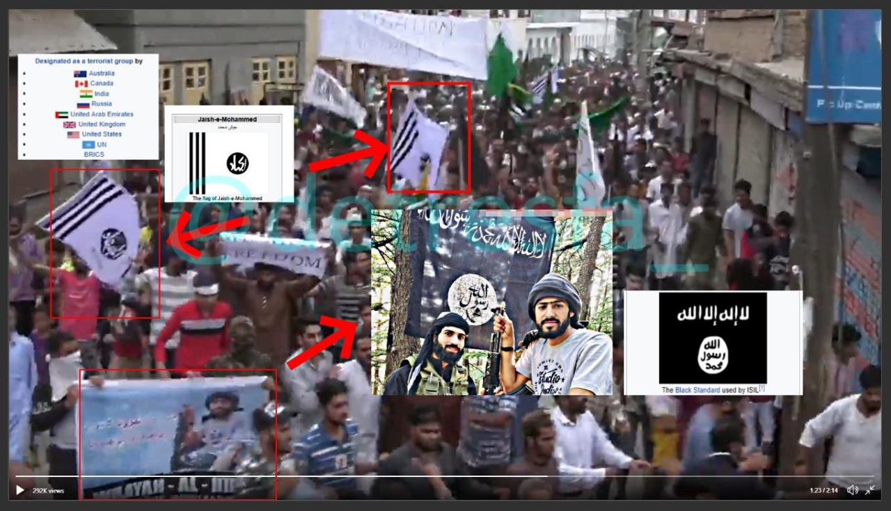 Jaish-e-Mohammad, Islamic State Flags, Slogans For Terrorist Zakir Musa In BBC Video Claiming To Show Kashmir Protests