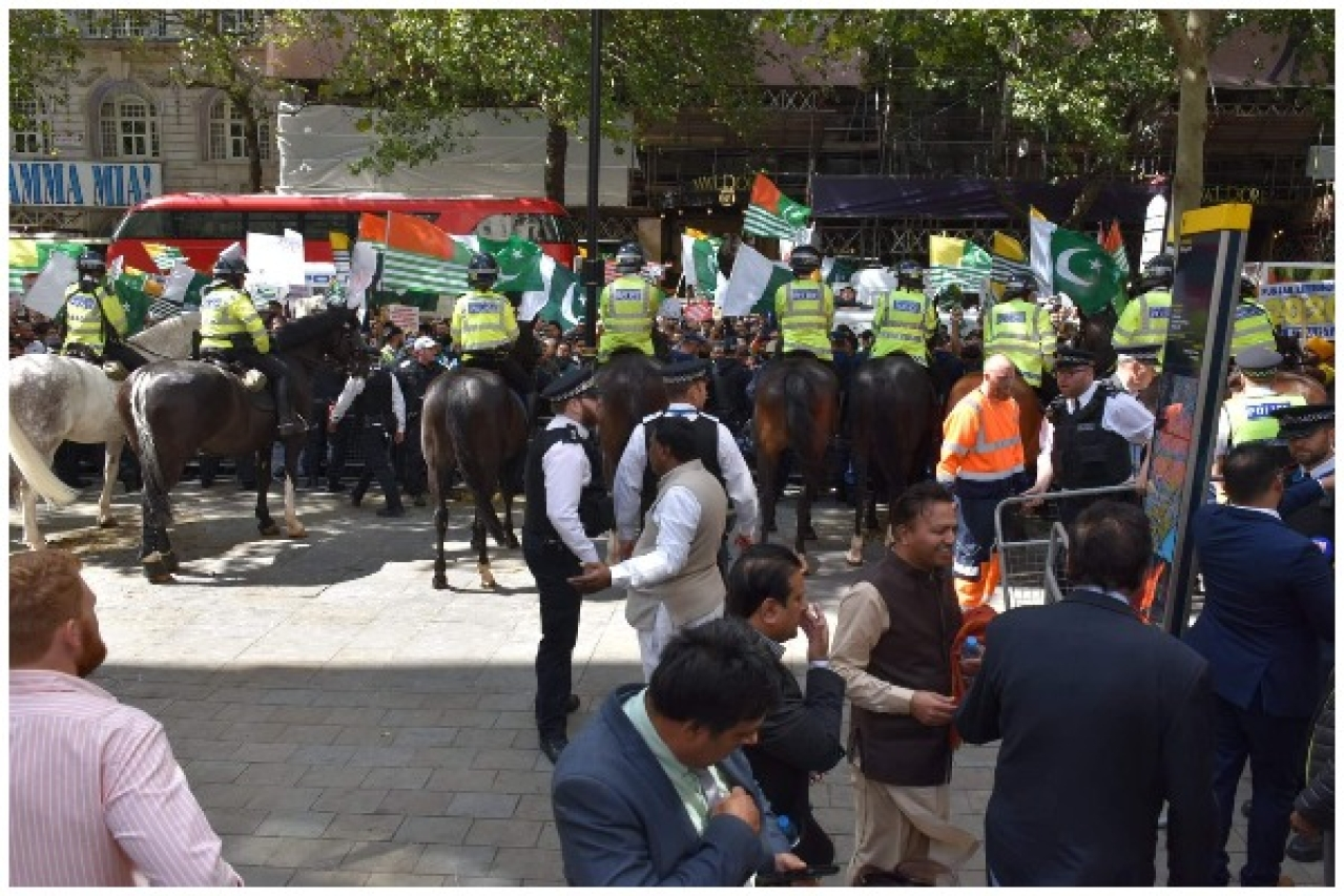 Scene outside the Indian High Commission on 15 August