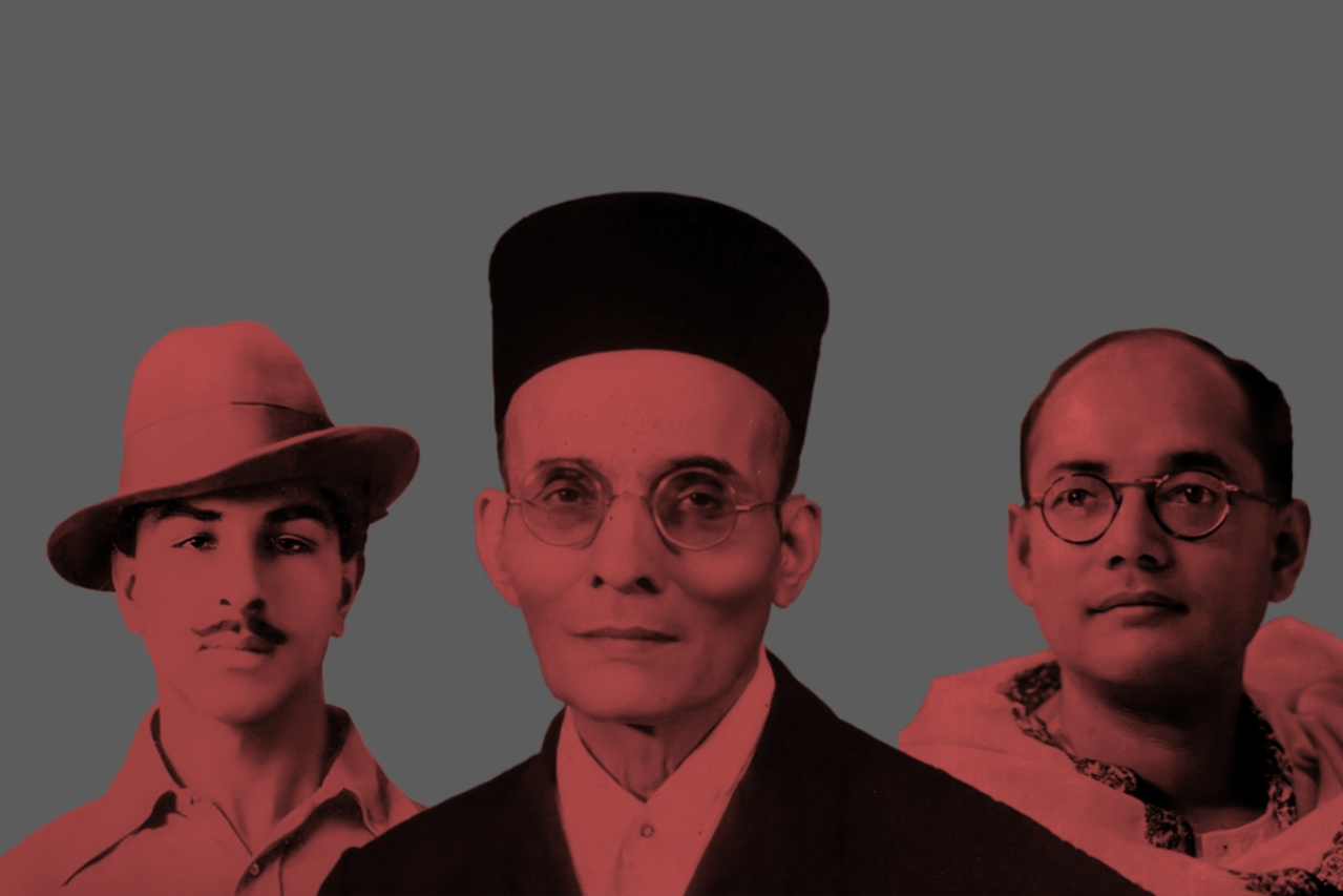 Freedom fighters Bhagat Singh, Subhas Chandra Bose and Veer Savarkar..