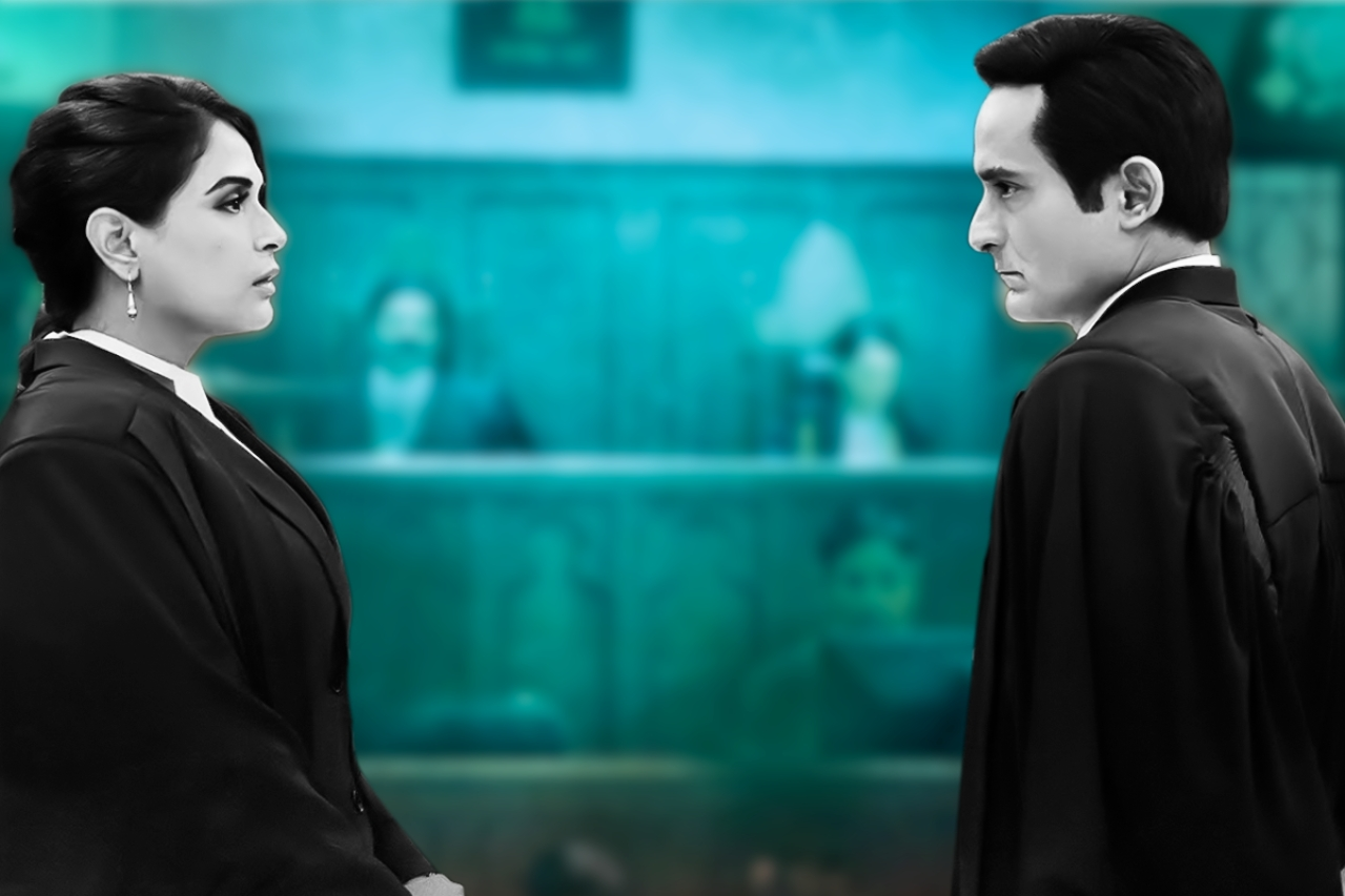 Actors Richa Chadha and Akshaye Khanna in a courtroom scene from the film.