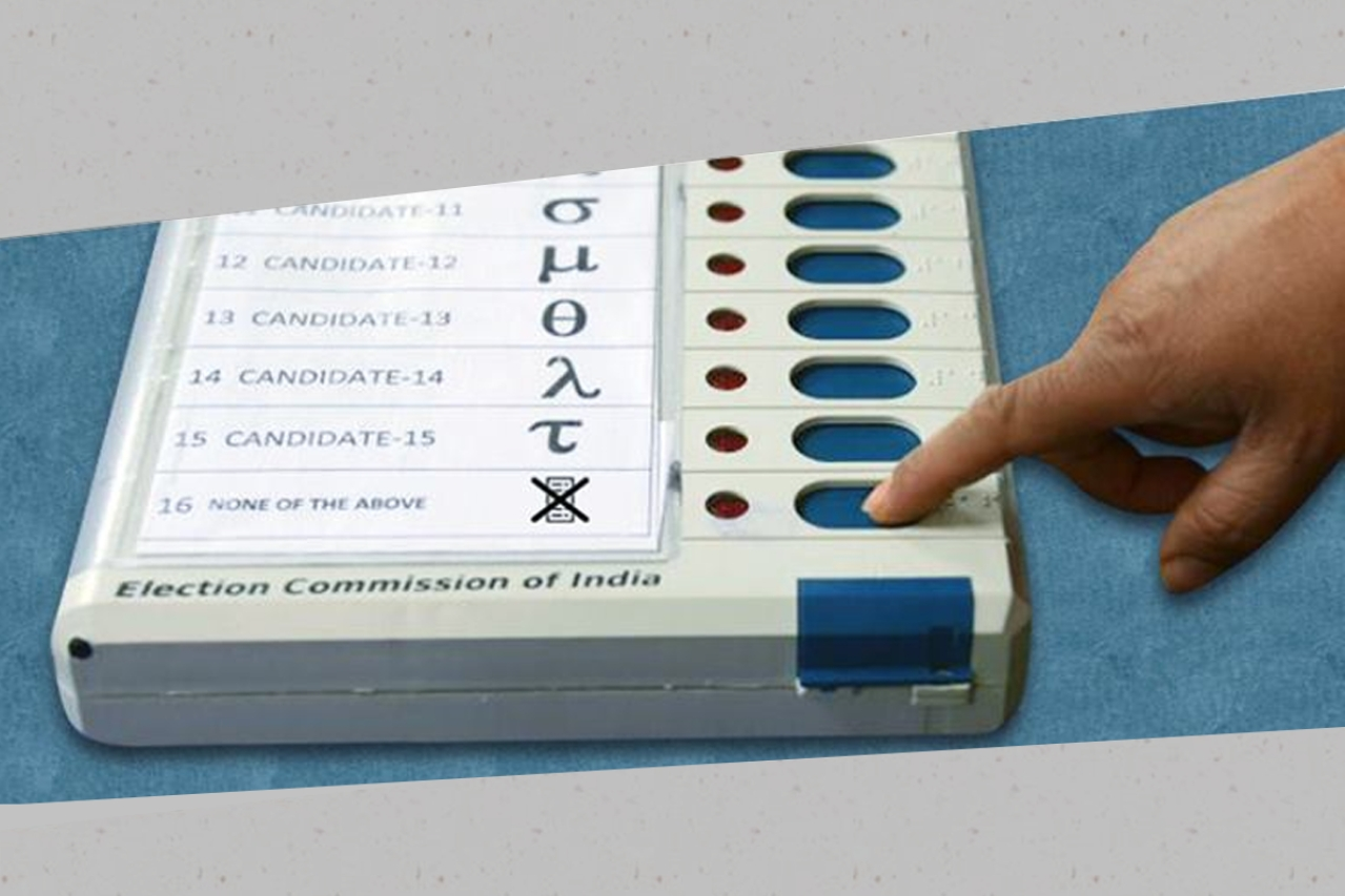 An electronic voting machine with NOTA option. (Election Commission of India/Facebook)