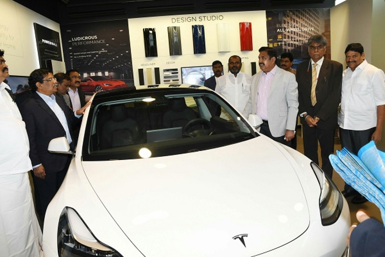 Tamil Nadu Chief Minister Edappadi K Palaniswami at Tesla's California factory