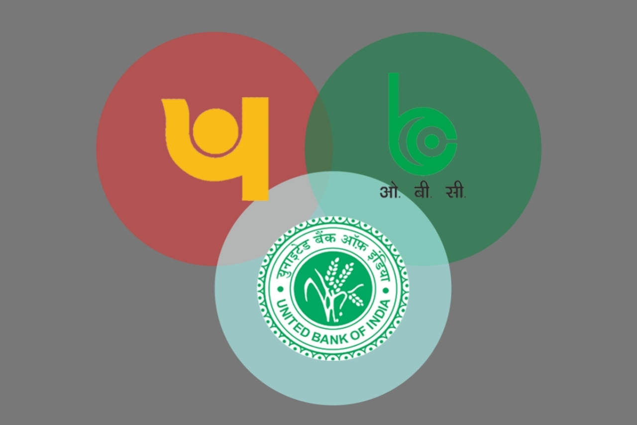 Logos of PNB, OBC and UBI - three banks merged by the government. (Swarajya)