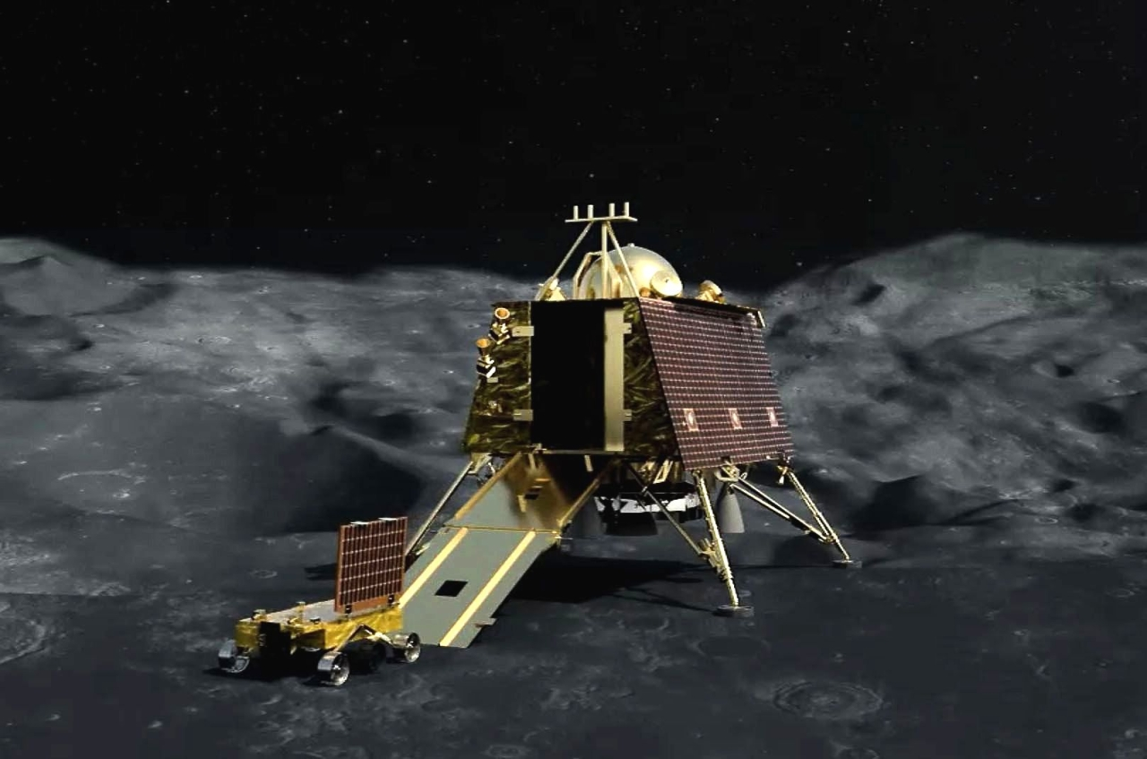 An artist's impression of the lunar lander on the moon's cratered surface. (ISRO)