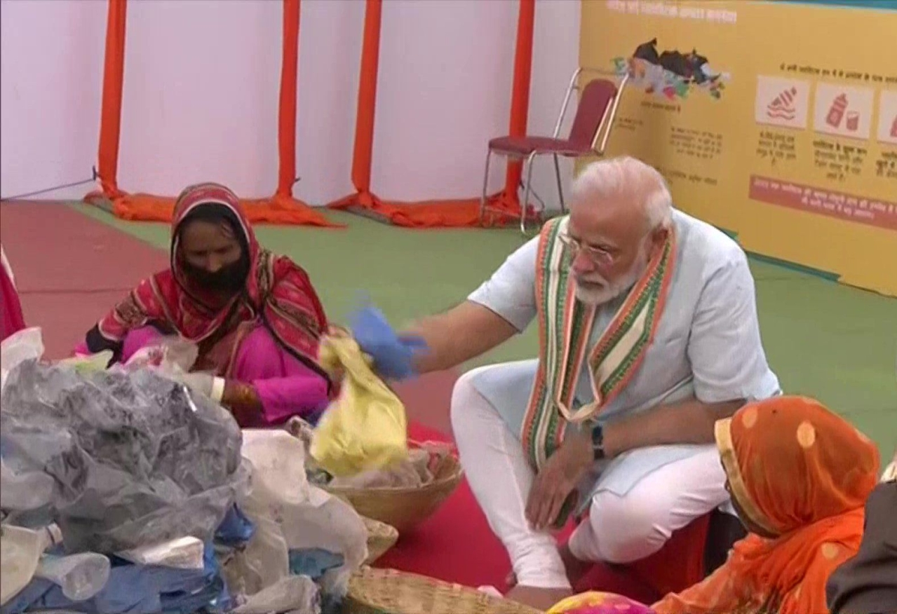 Mathura: PM Narendra Modi Sorts Plastic Waste With Sanitation Workers, Appeals To End Use Of Single-Use Plastic